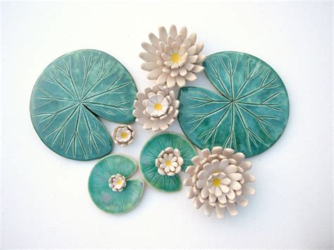 Handmade Ceramic Decorations - pad coaster handmade ceramic waterlily green leaf made to