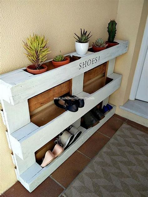 diy shoe shelf plans wooden pallet shoe rack ideas pallet wood projects