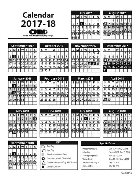 Calendario U Central Academic Calendars Central New Mexico Community College
