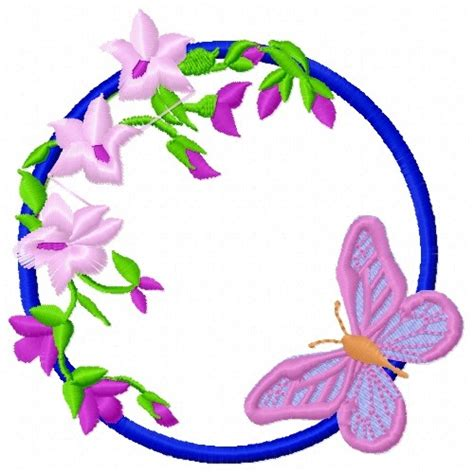 Bv4765ls Embroidery Flower And Butterfly flower butterfly circle embroidery design annthegran