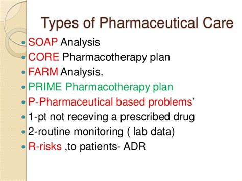 Pharmaceutical Care Pharmaceutical Care Plan Template