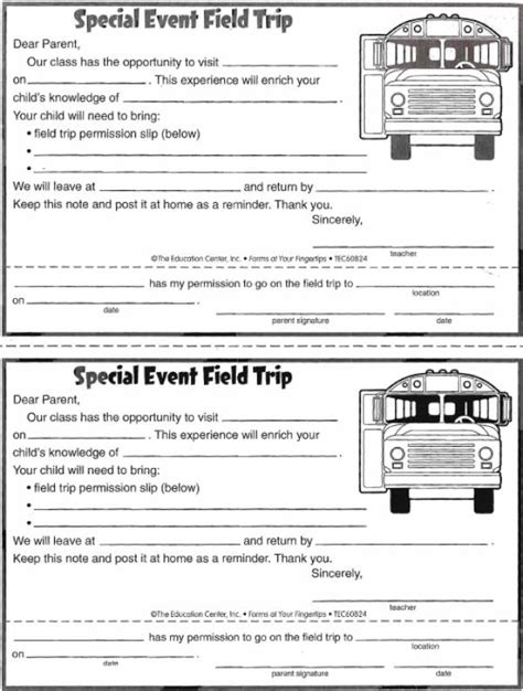Field Trip Permission Form Free Teaching Resources Lesson Plans Field Trip Form Template