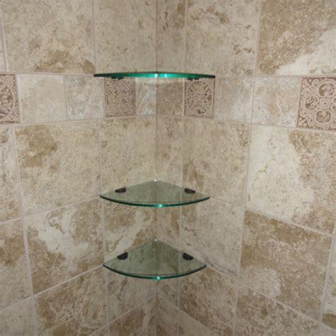 Small Corner Showers Glass Corner Shelves 10 Inch Quarter Round Glass Tile
