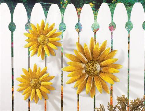 sunflower wall decor 3 pc sunflower wall decor hanging metal yellow flower