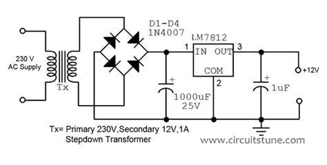 schematic diagram of regulated power supply 12v regulated power supply circuit diagram circuitstune