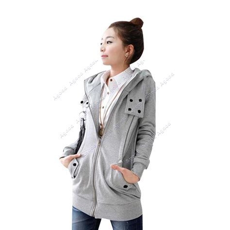 korea s zip up top hoodie coat jacket many buttons sweatshirt fleece ebay