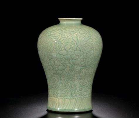 a celadon glazed vase meiping ming dynasty alain r truong