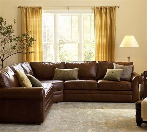 pottery barn leather sectional pearce leather 3 piece l shape sectional with wedge