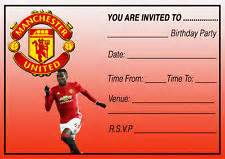 printable manchester united birthday invitations football party invitations ebay