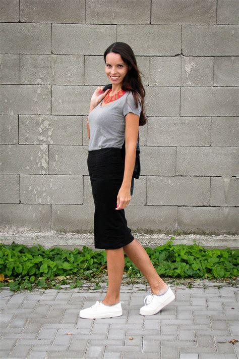 midi skirt sneakers tina chic