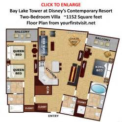 Bay Lake Tower One Bedroom Villa Floor Plan by Review Bay Lake Tower At Disney S Contemporary Resort