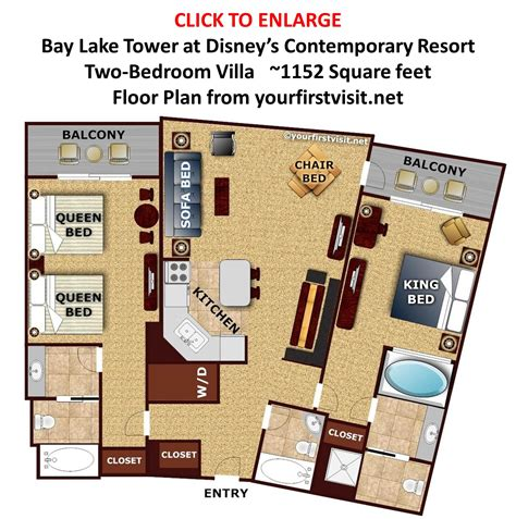 disney treehouse villa floor plan sleeping space options and bed types at walt disney world