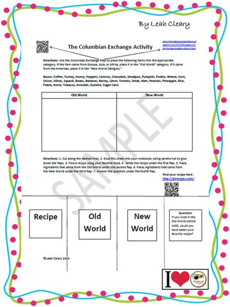 Columbian Exchange Worksheet the world s catalog of ideas