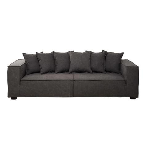 cotton couch 4 seater cotton sofa in grey portman maisons du monde