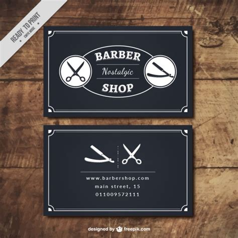 Black Barber Shop Cards Vector Free Download Free Barber Business Card Template