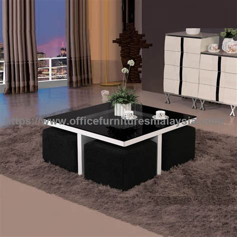 square coffee table with sofa stools underneath office