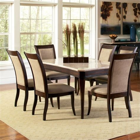 steve silver marseille  piece marble top dining set