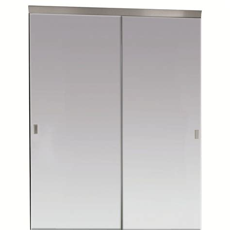 Mirrored Closet Doors Sliding Impact Plus 72 In X 80 In Beveled Edge Backed Mirror Aluminum Frame Interior Closet Sliding