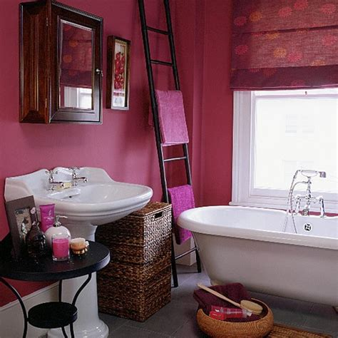 Raspberry Bathroom Paint bathroom with pink walls blind and white suite housetohome co uk