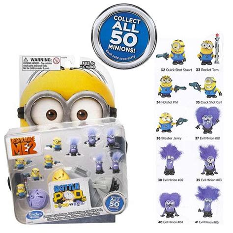 Despicable Me Set Isi 2 Trading Figur collect all 50 minion battle pods mini figures