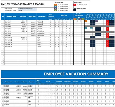 employee vacation planner template employee vacation planner calendar template 2016