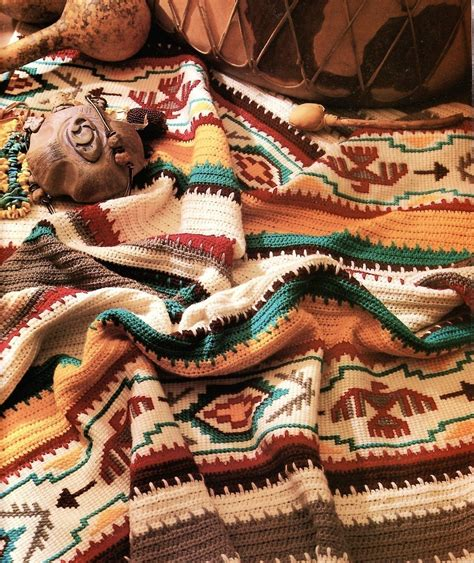 southwest native american blankets indian blanket crochet pattern afghan southwest colorful