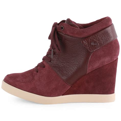 lacoste korelle womens leather suede burgundy wedges new