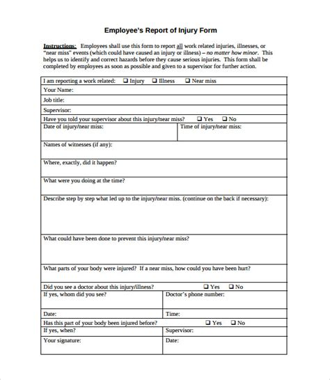 osha incident report form template near miss report format sle best free home design