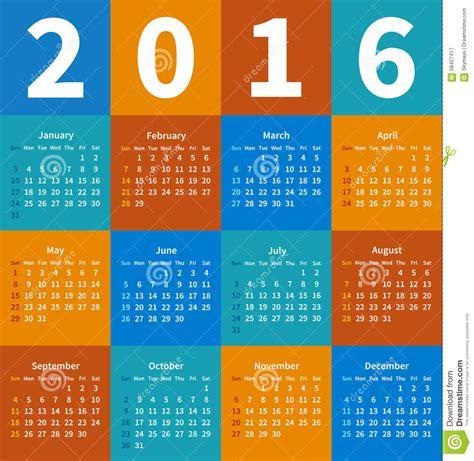 Calendario Colo Calendario 2016 A 241 Os En Color Plano Ilustraci 243 N Vector