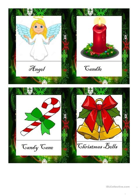 printable christmas flash cards christmas vocabulary flashcards doc worksheet free esl