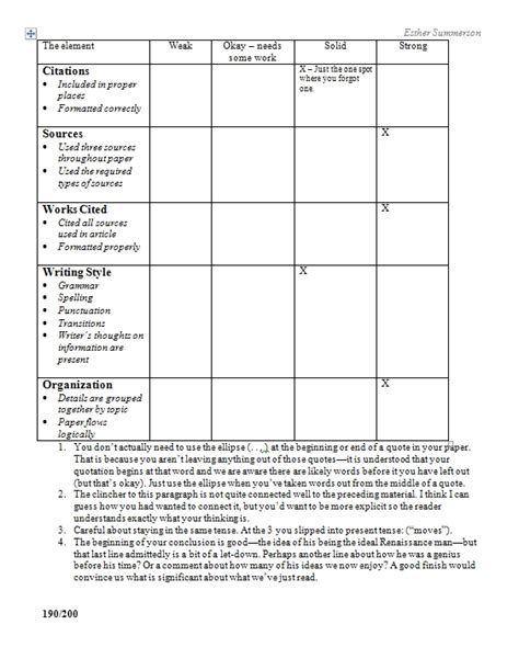 Paper Grading Rubric Template grading research papers a rubric and a method of moiling