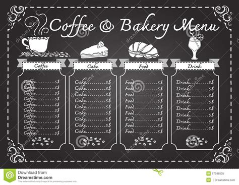 coffee and bakery menu on chalkboard template stock vector