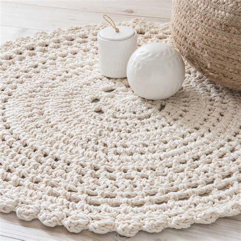 Tapis Rond Coton by Tapis Rond En Coton 233 Cru D 90cm Crochet Maisons Du Monde