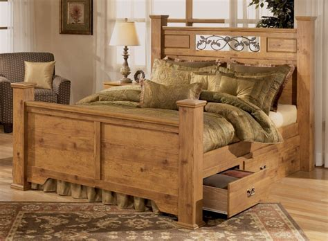 rustic pine bedroom furniture brown plank wood frame bed