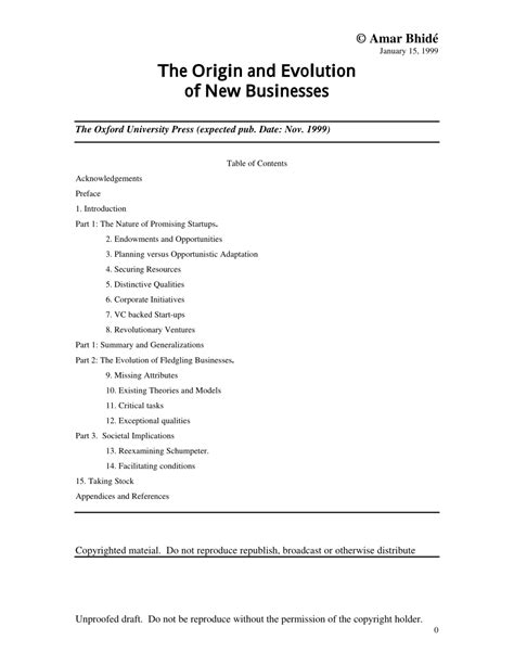 Pdf The Origins And Evolution Of New Businesses
