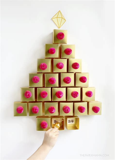 Tree Advent Calendar Decor Golden Tree Advent Calendar Diy