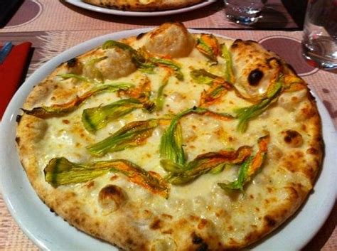 pizza fiori di zucca la pizza fiori di zucca senza alici foto di