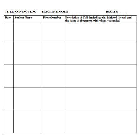 phone log template 8 free pdf doc download