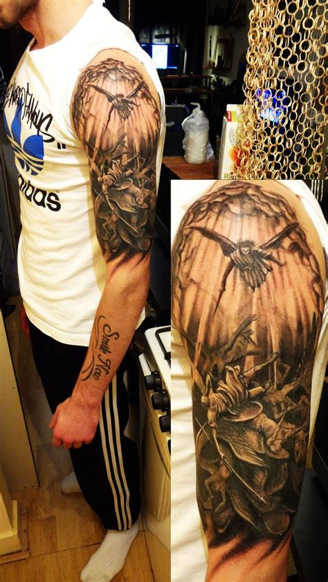 angel sleeve tattoos amazing left half sleeve fallen design