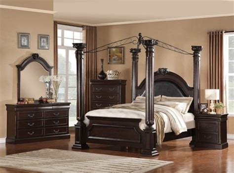queen canopy bedroom sets acme furniture roman empire ii 5 piece queen canopy