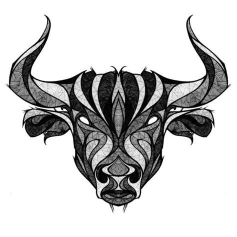 geometric tattoo taurus white eyed bull head with geometric pattern tattoo design