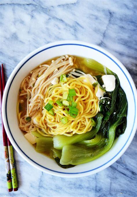 Ramen Aboy ramen miso soup with enoki mushrooms and baby bok choy sprig and flours