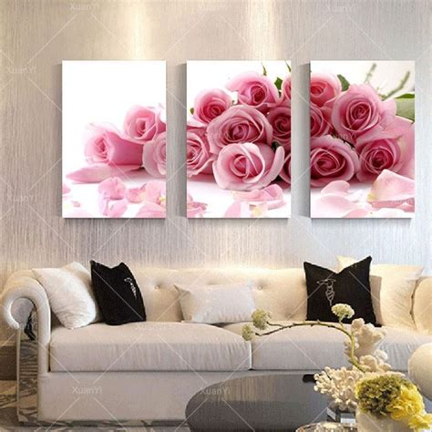 home decor wall painting flower canvas painting cuadros 3 panel modern printed rose flower painting canvas cuadros