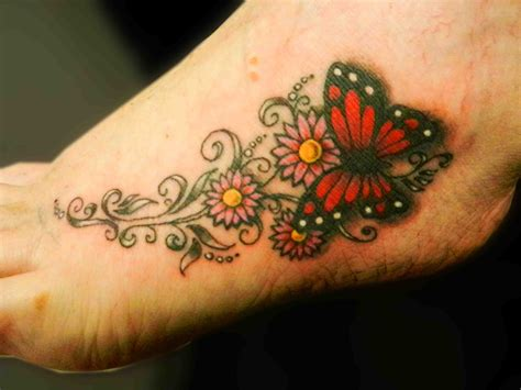 57 Butterfly And Flower Tattoos On Foot Flower Foot Tattoos Pictures