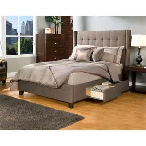 Upholstered Storage Platform Bed Manhattan Wingback Tufted Upholstered Storage Platform Bed