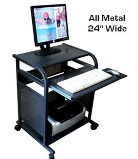 24 inch wide desk sts5801 metal narrow 24 inch black all metal computer cart