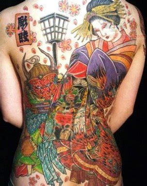 tattoo geisha full back geisha samurai full back tattoo
