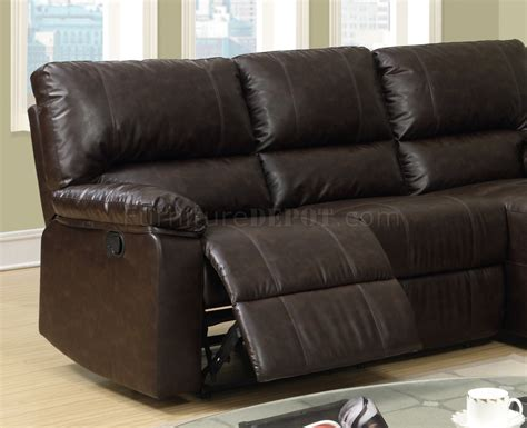 bonded leather sectional sofa with recliners f6631 reclining sectional sofa by boss in coffee bonded