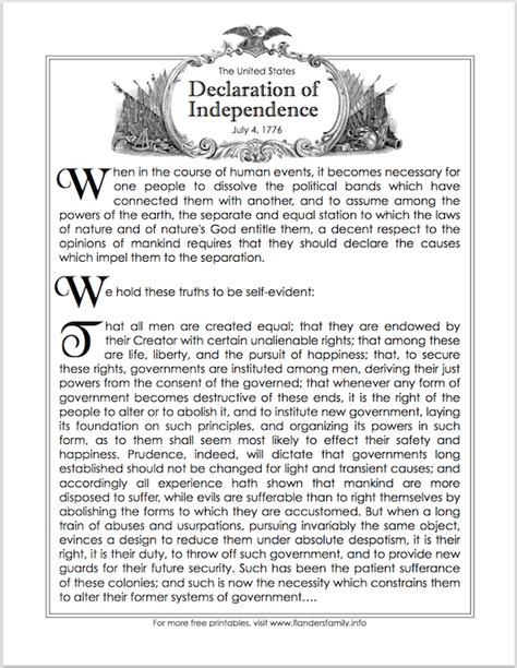 printable version of the constitution free printable introductory paragraphs of the declaration