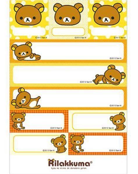 printable stick on name tags free printable rilakkuma name label sticker pattern